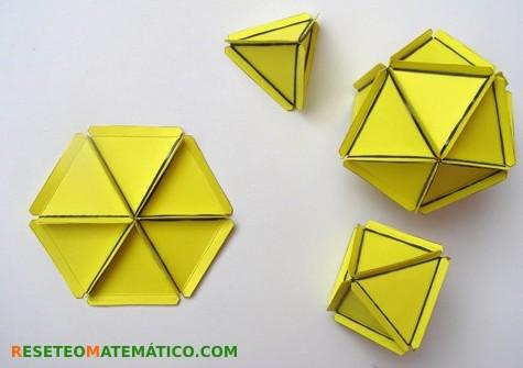 6 triángulos equilateros formando hexágono (plano). Diario poliedros regulares