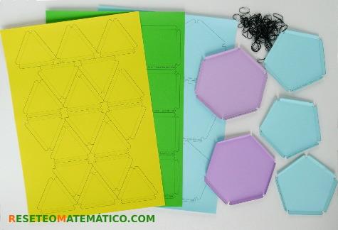 Plantillas de polígonos para construir poliedros con gomitas. Cómo fue el taller en el FACE 2017