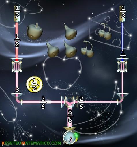 Refraction juego con fracciones. Detalle del nivel 5.6