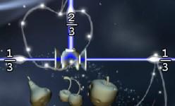 Refraction juego con fracciones. Un combiner suma dos rayos de un tercio