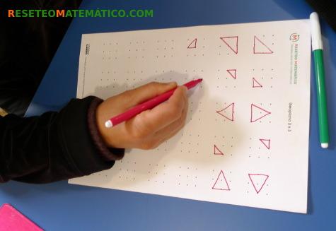 Buscando los triángulos dibujando