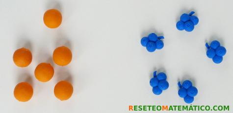 Concepto de cantidad. Conjuntos de frutas
