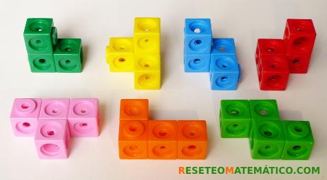 Piezas de cubo SOMA hechas con Policubos