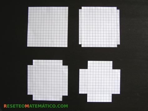 Cuadrado de 15 cm y cuadrado con recortes de 1, 2 y 3 cm. Proyecto de investigación en Matemáticas: volumen y gráficas.