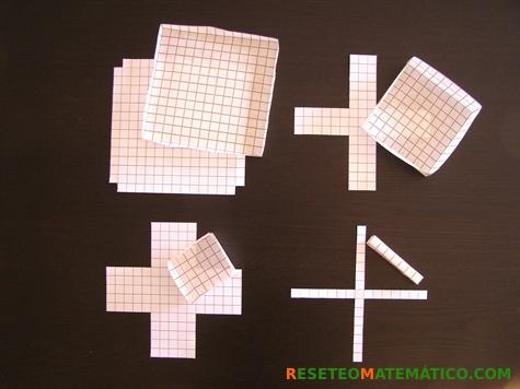 Cuadrados con recortes de 1, 5, 6 y 7 cm y cajas correspondientes. Proyecto de investigación en Matemáticas: volumen y gráficas.