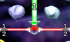Refraction juego con fracciones. Splitter divide rayo unidad en dos de un medio