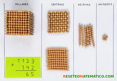 suma sin llevada con perlas doradas Montessori. Paso 3
