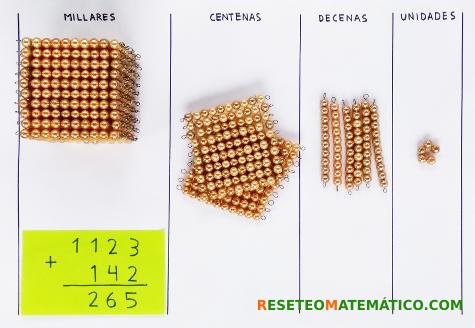 suma sin llevada con perlas doradas Montessori. Paso 4