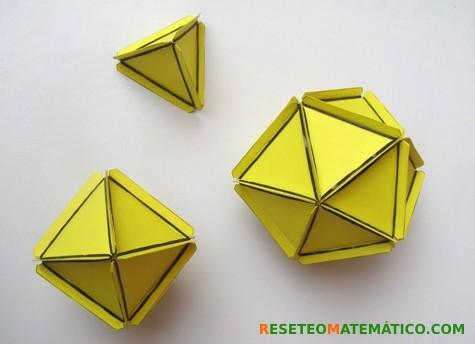 Poliedros regulares formados por triángulos unidos con gomitas. Cómo fue el taller en el FACE 2017